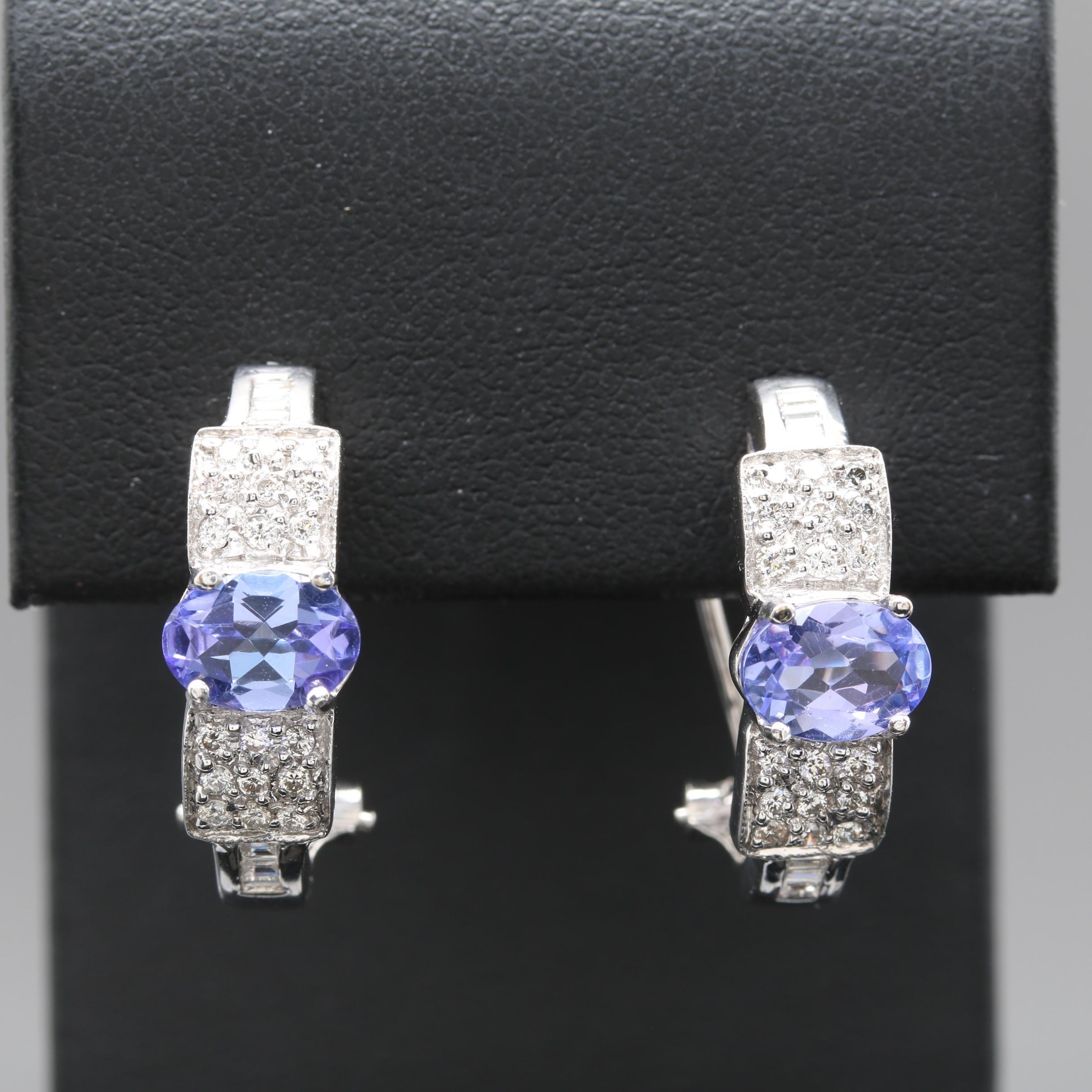 18K White Gold Tanzanite and Diamond Earrings
