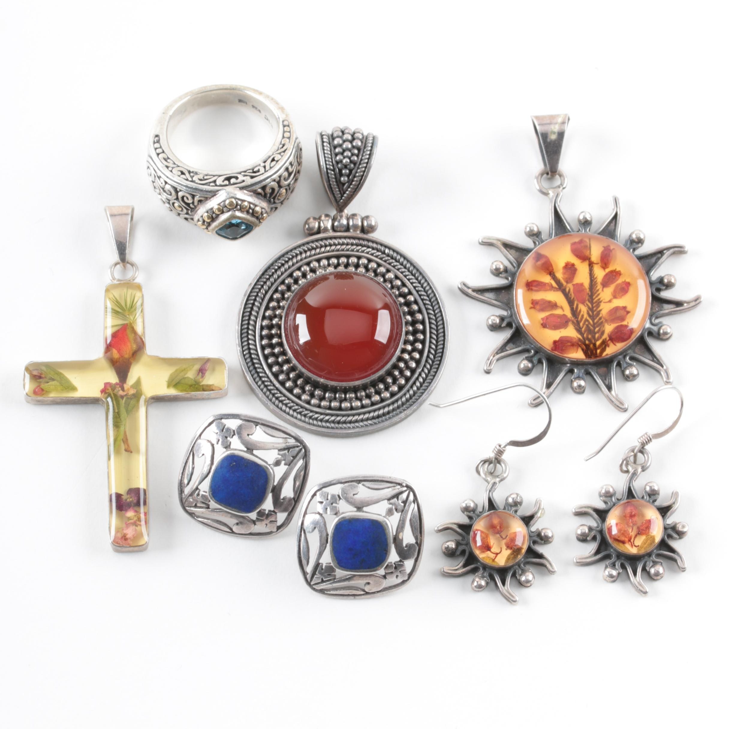 Sterling Silver Jewelry Assortment Including Suarti Bali and 18K Gold Accent
