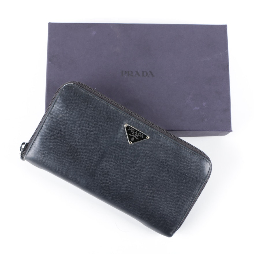 04529c6fc62184 Prada Black Saffiano Leather Zip-Around Wallet : EBTH