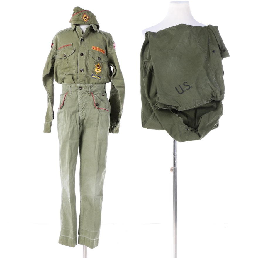 Vintage Boy Scout Uniform and Sleeping Bag Cover