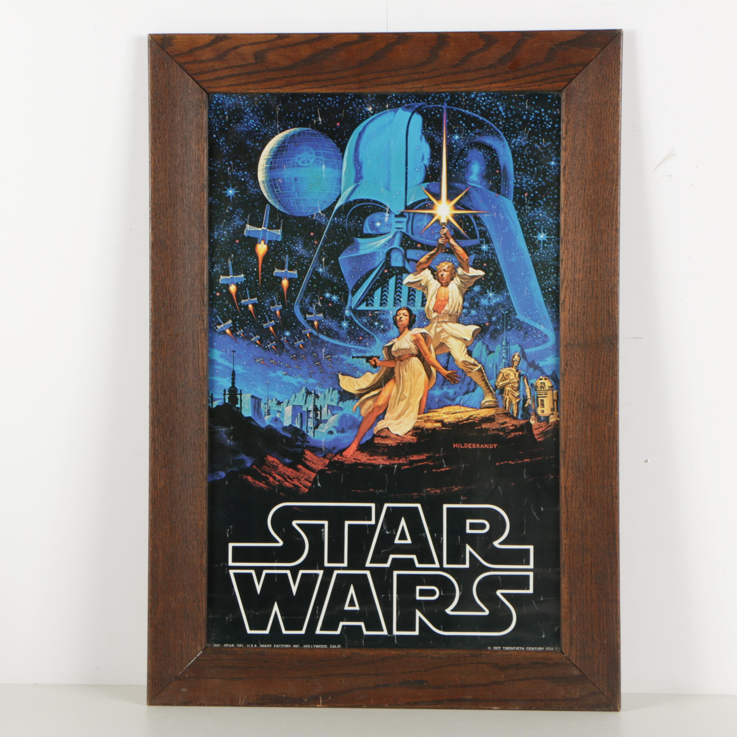 "1977 ""Star Wars"" Poster by Greg and Tim Hildebrandt in Wooden Frame"