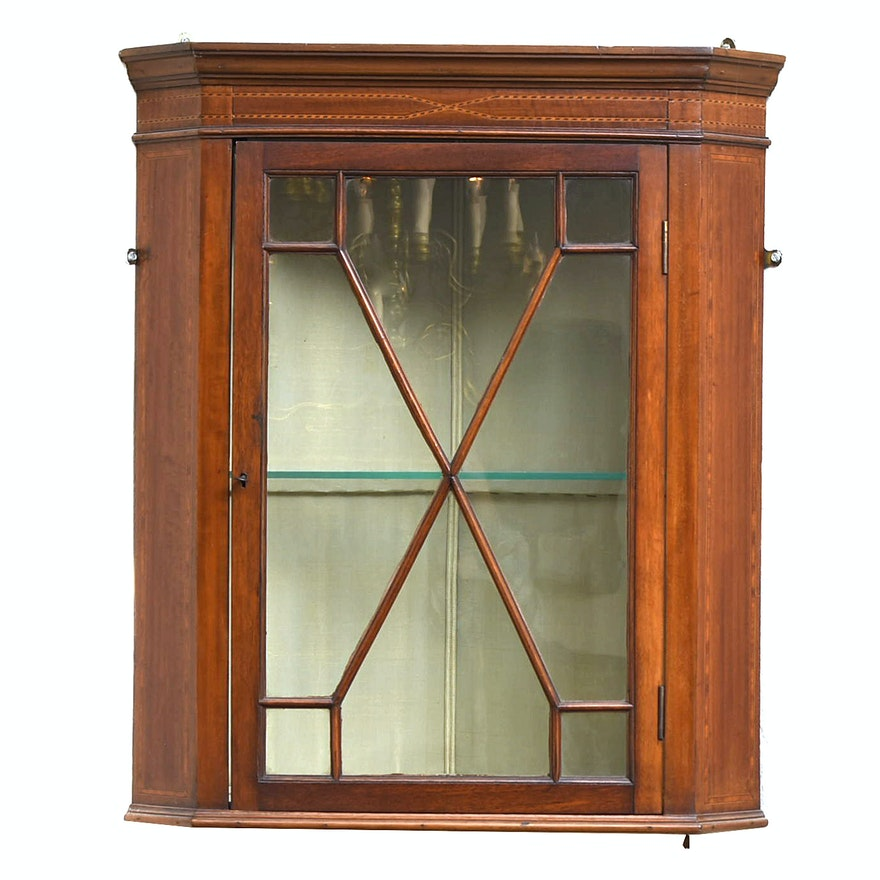 - Antique Edwardian Mahogany And String-Inlaid Hanging Corner Cabinet