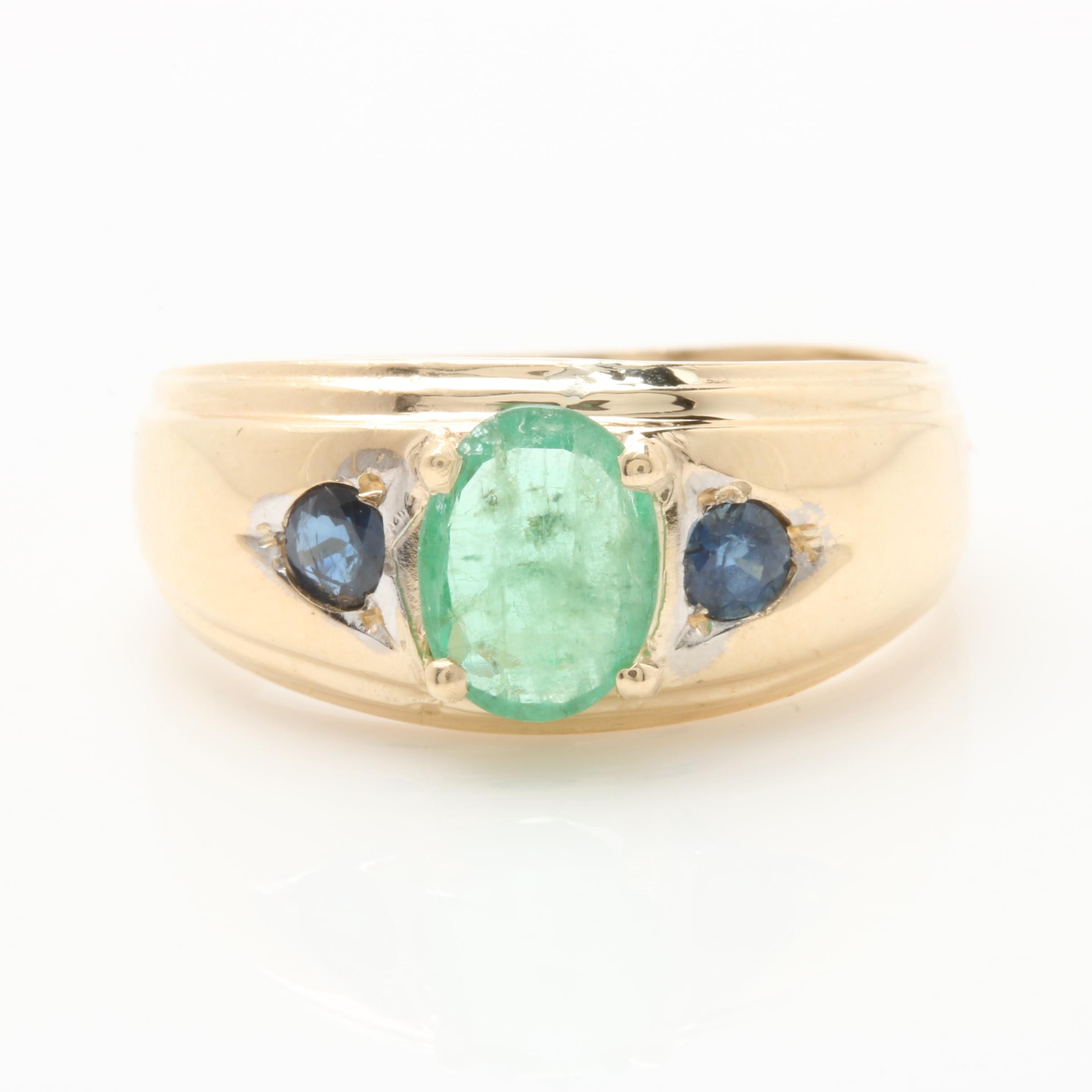 14K Yellow Gold Emerald and Sapphire Ring