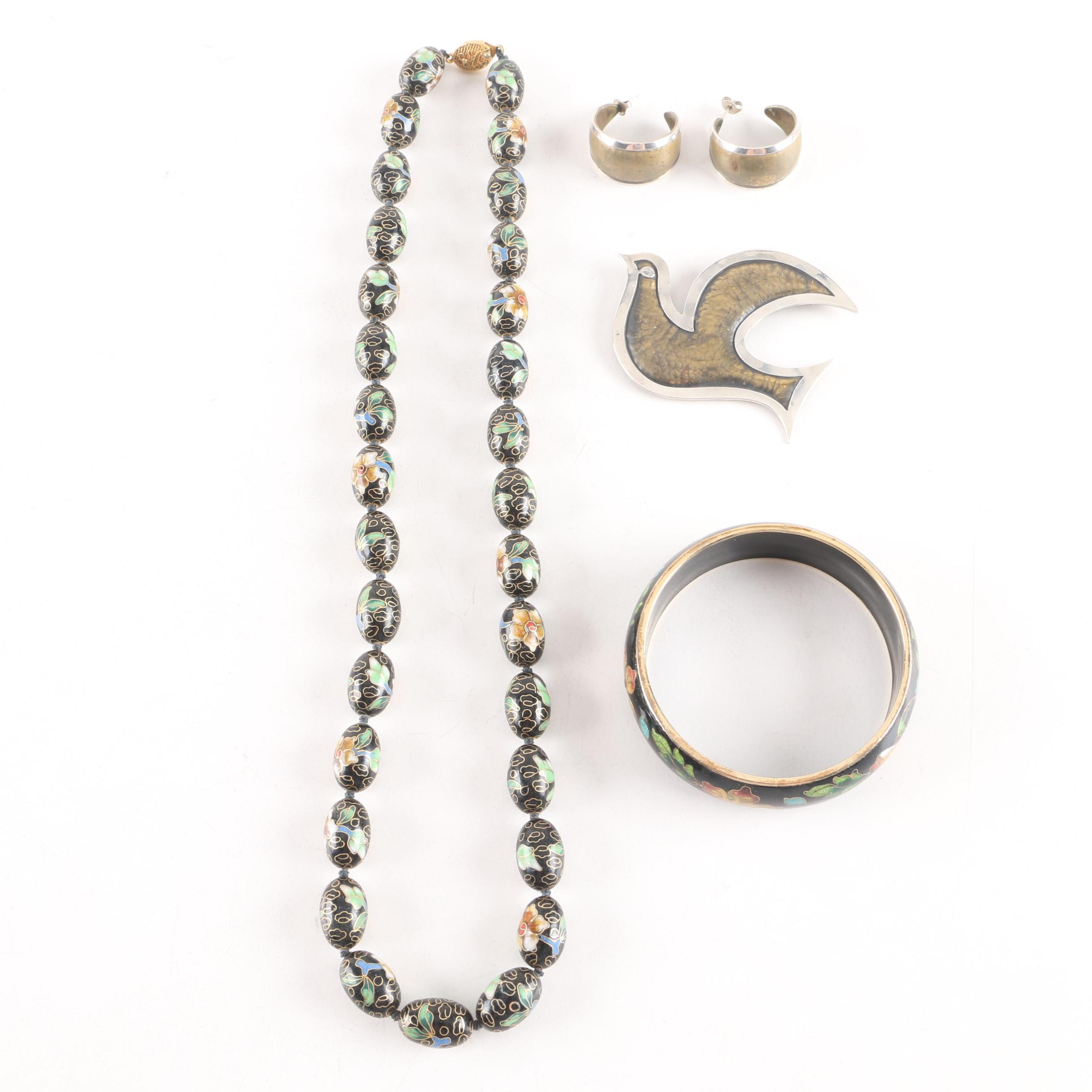 Cloisonne Enamel Bracelet and Necklace Including James Avery Brooch and Earrings