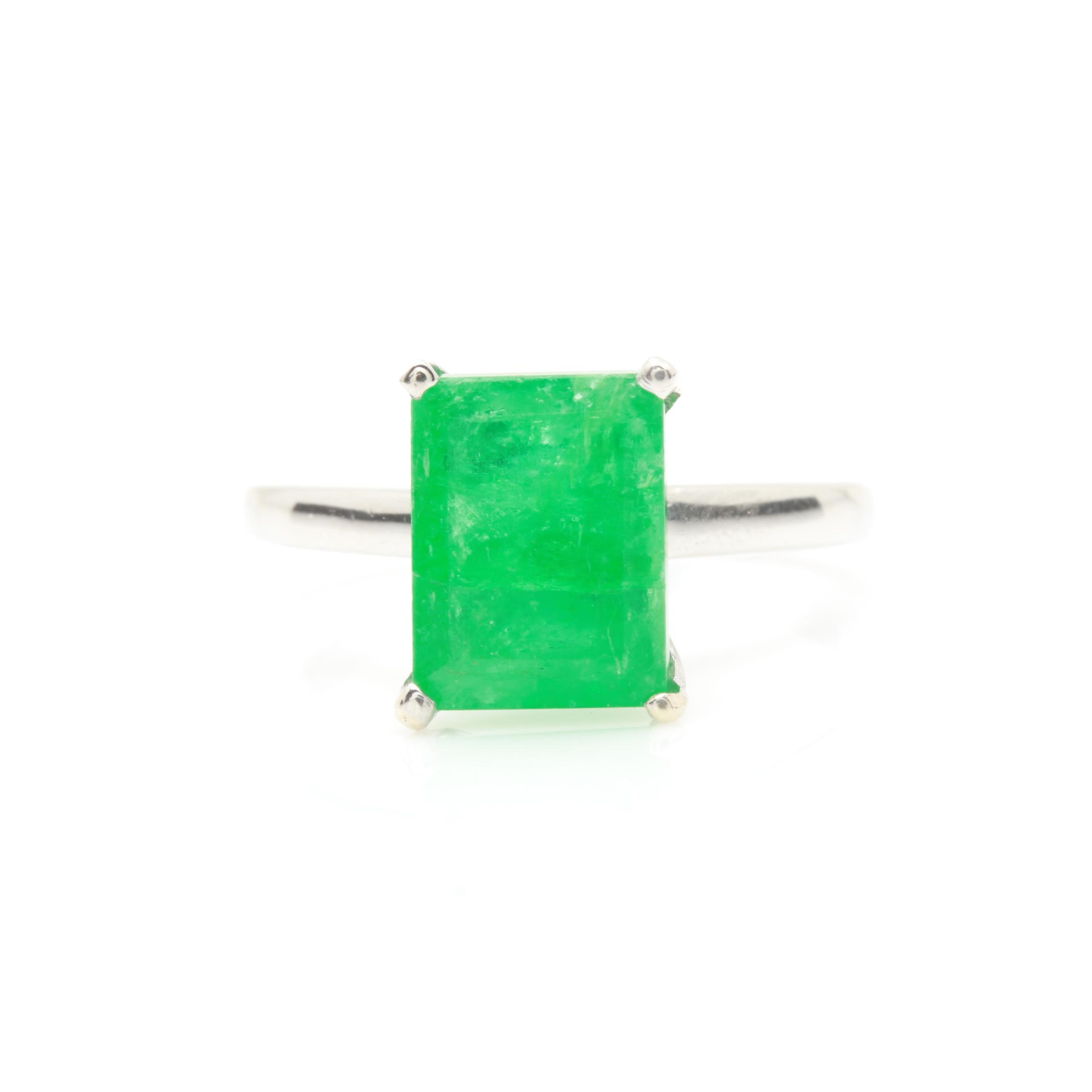 Platinum 2.07 CT Emerald Solitaire Ring
