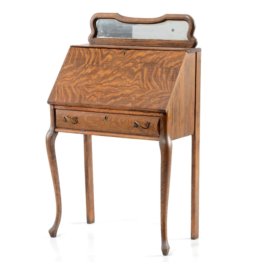 - Antique Quarter Sawn Oak Slant Top Desk : EBTH
