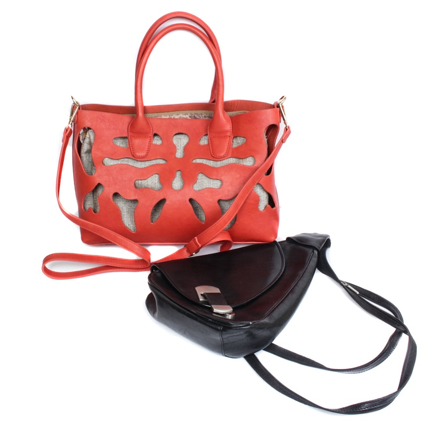 f3f1c341bb96 Black Leather and Coral-Colored Leather Handbags   EBTH