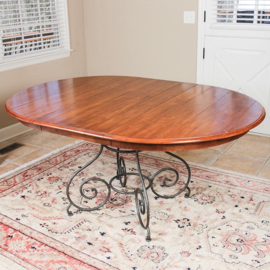 Ethan Allen Legacy Wrought Metal Pedestal Dining Table Ebth
