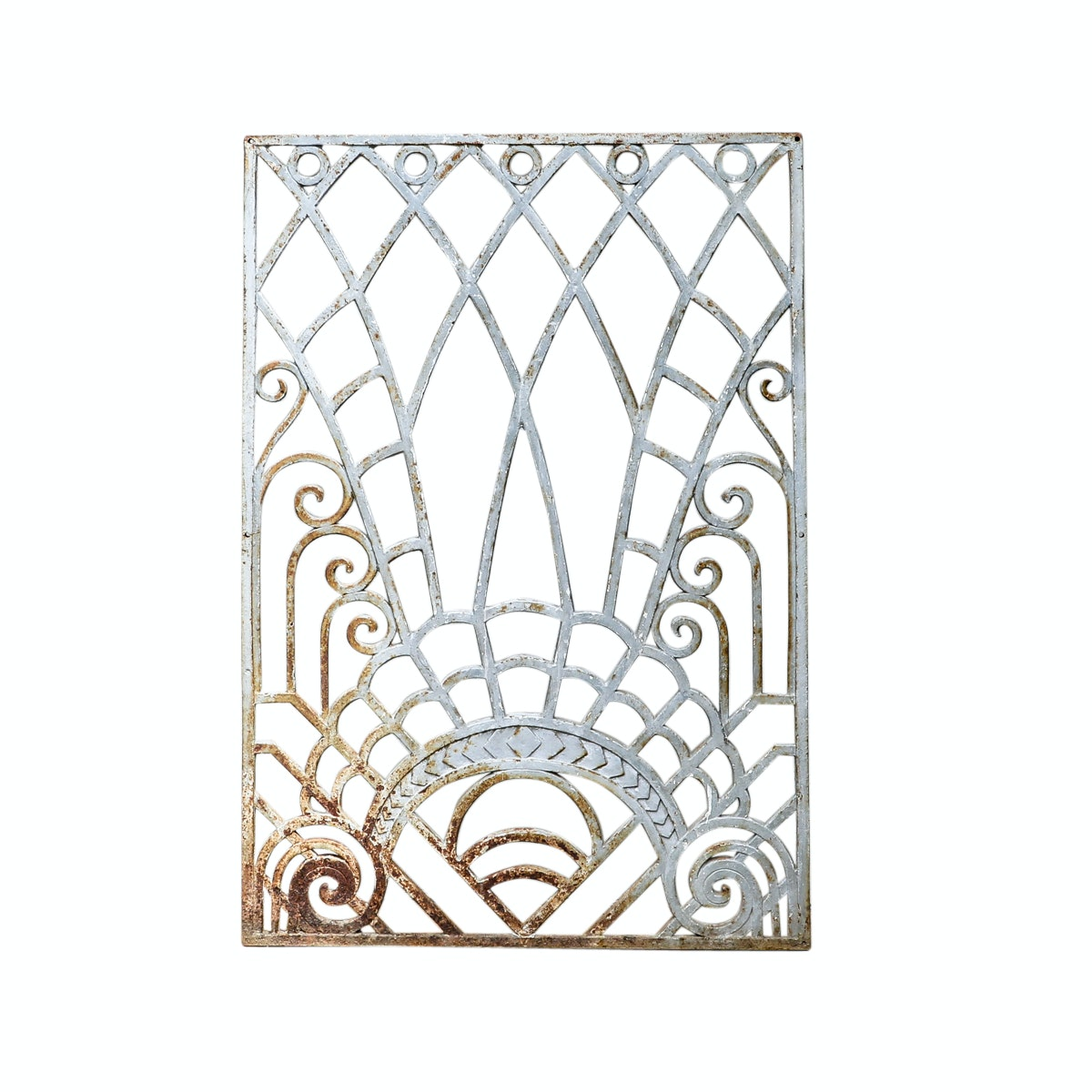 Art Deco Silver Painted Cast Iron Window Grate