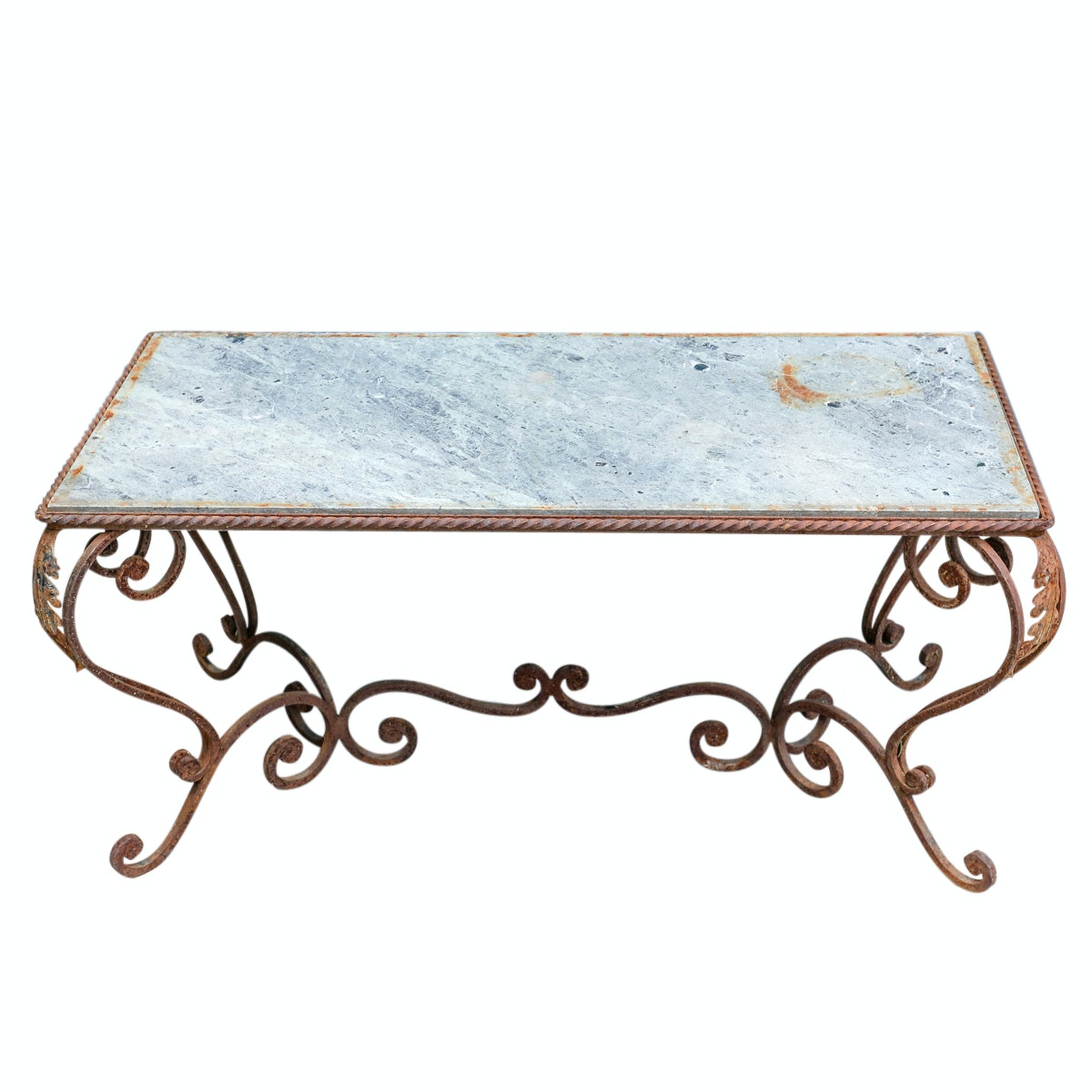 Vintage Marble and Metal Coffee Table