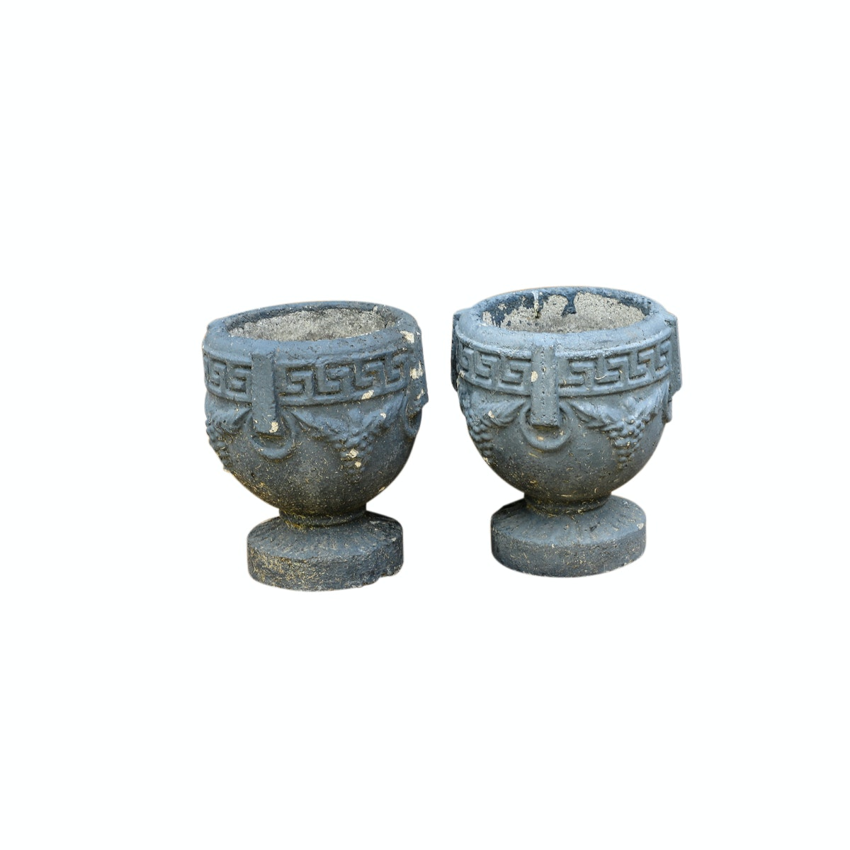 Vintage Outdoor Planters with Greek Key Accents