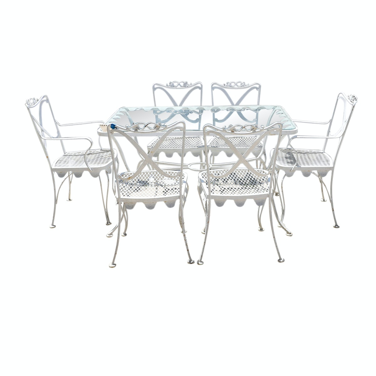 "Woodard ""Chatelaine"" Glass Top Wrought Iron Patio Dining Table with Chairs"