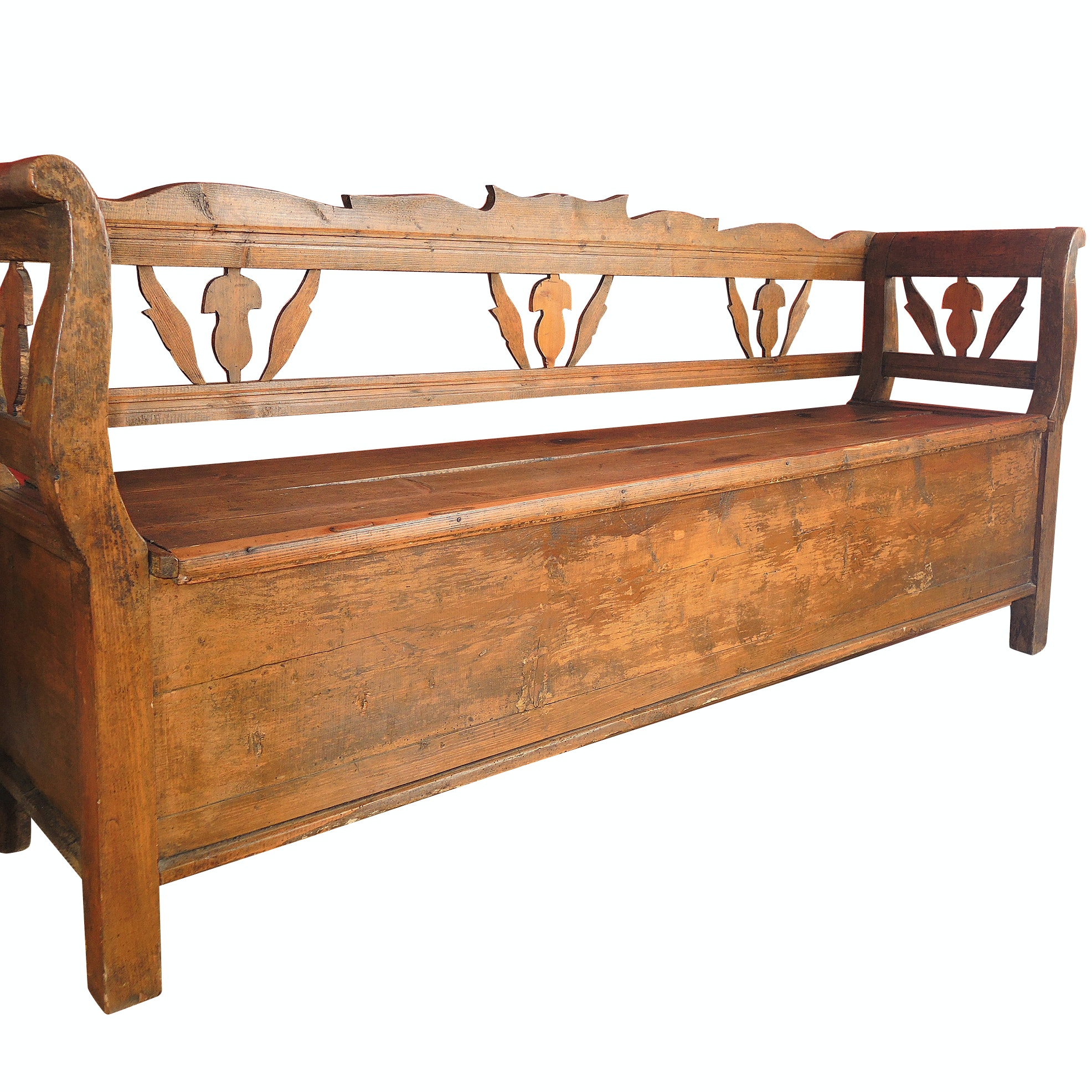 Antique Wooden Bench With Storage Seat  Antique Wooden Bench47