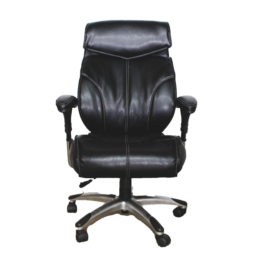 true innovations black leather executive office chair ebth