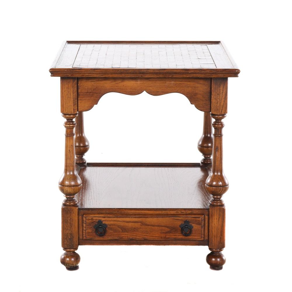 Ethan Allen Jacobean Style Oak Parquetry Side Table