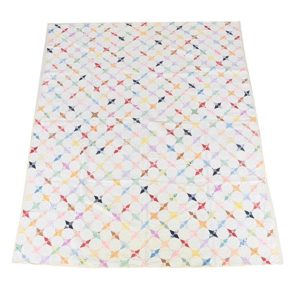 """Vintage Hand Crafted """"Snowball"""" Quilt"""
