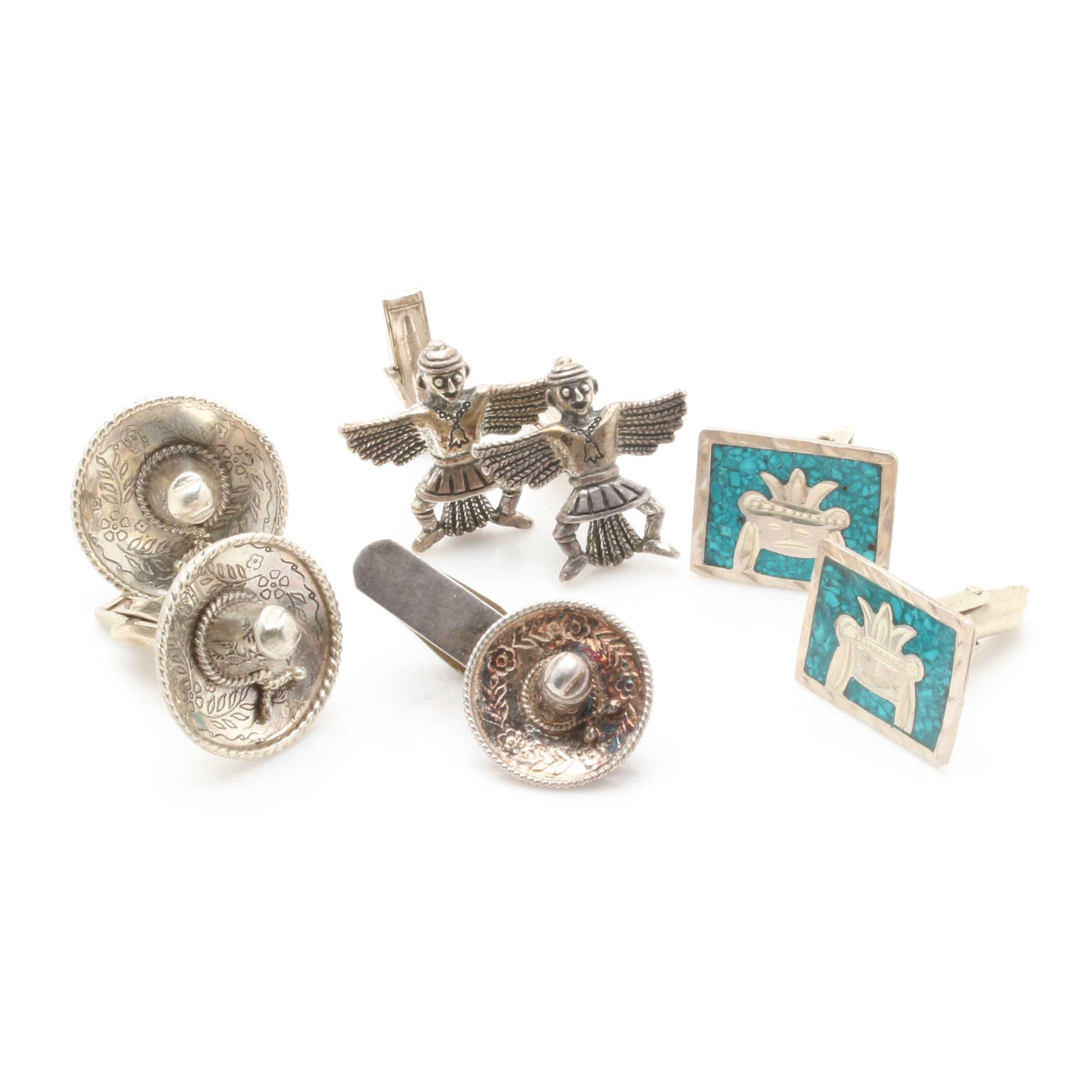Sterling Silver and Silver Tone Cufflinks and Tie Bar