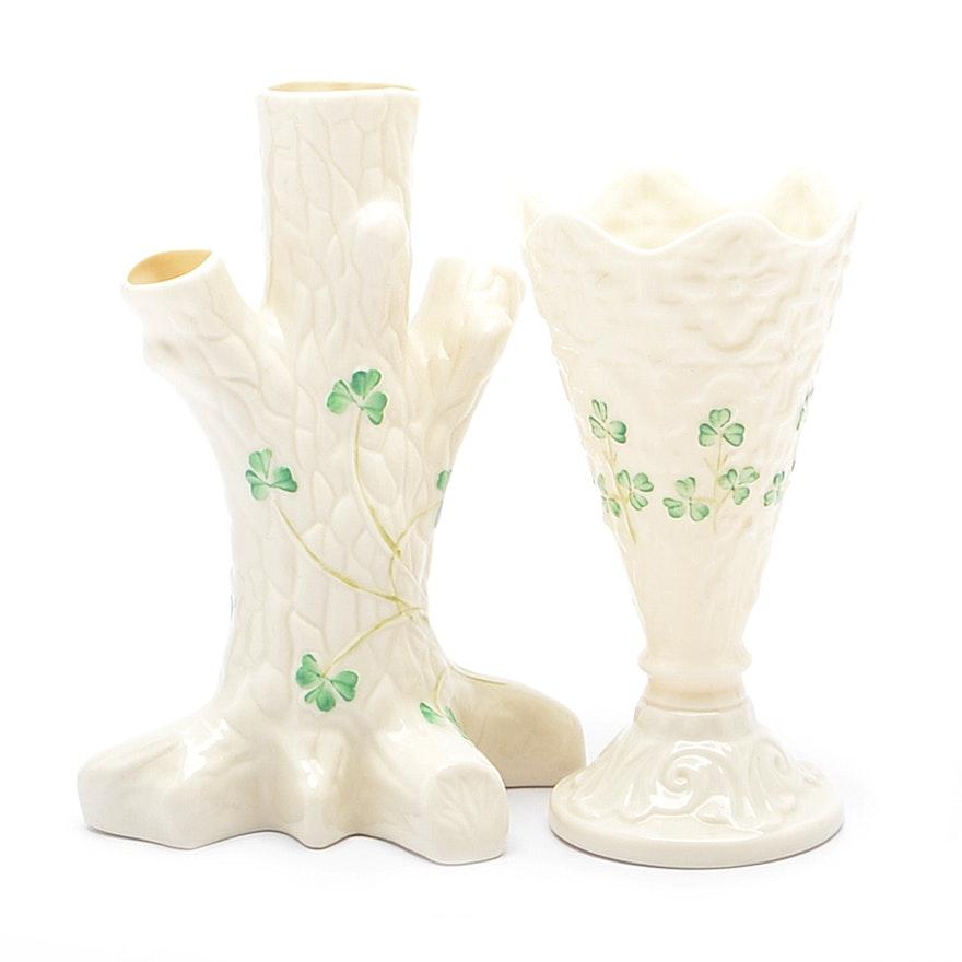Two Irish Belleek Vases Ebth