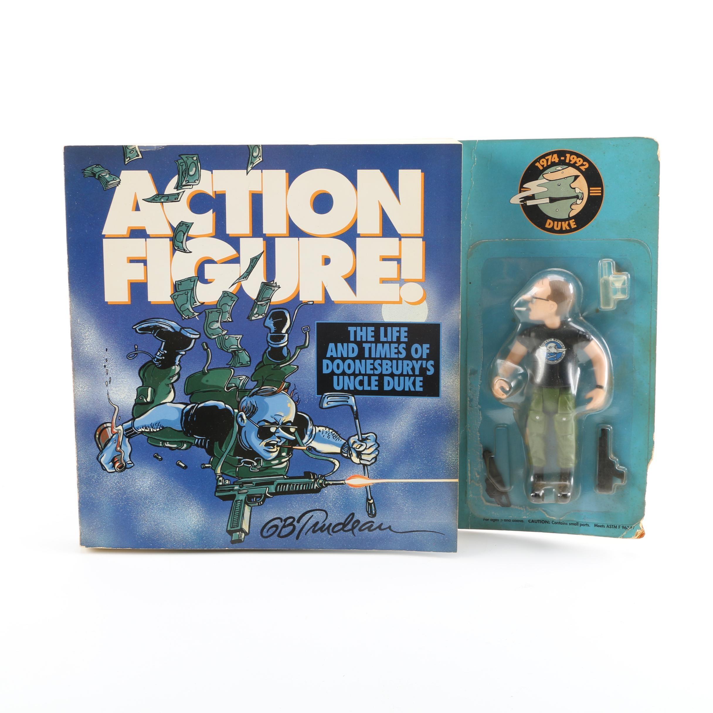 """Doonesbury """"Action Figure!"""" Book and """"Duke"""" Action Figure"""