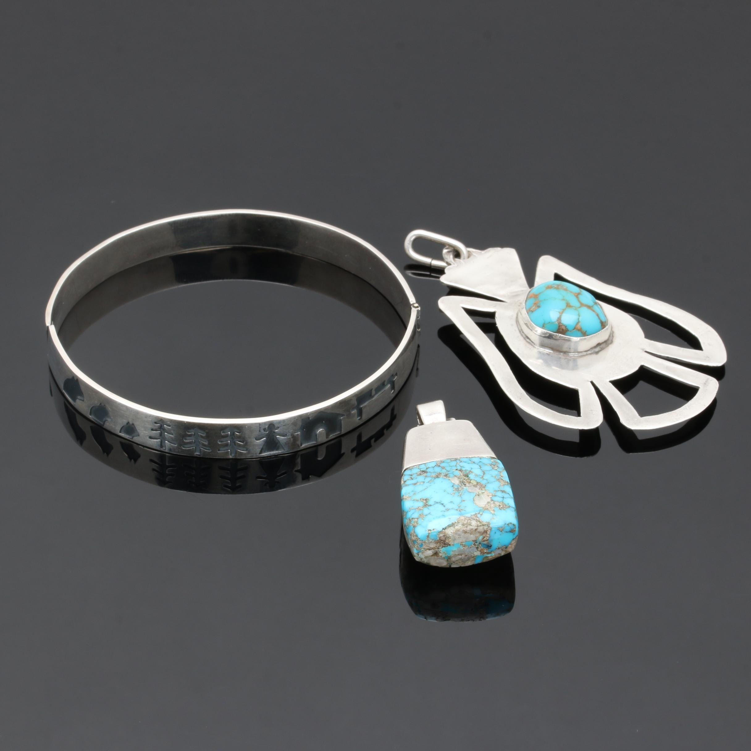 Southwest Style Sterling Silver Turquoise Jewelry Including Story Teller Bangle