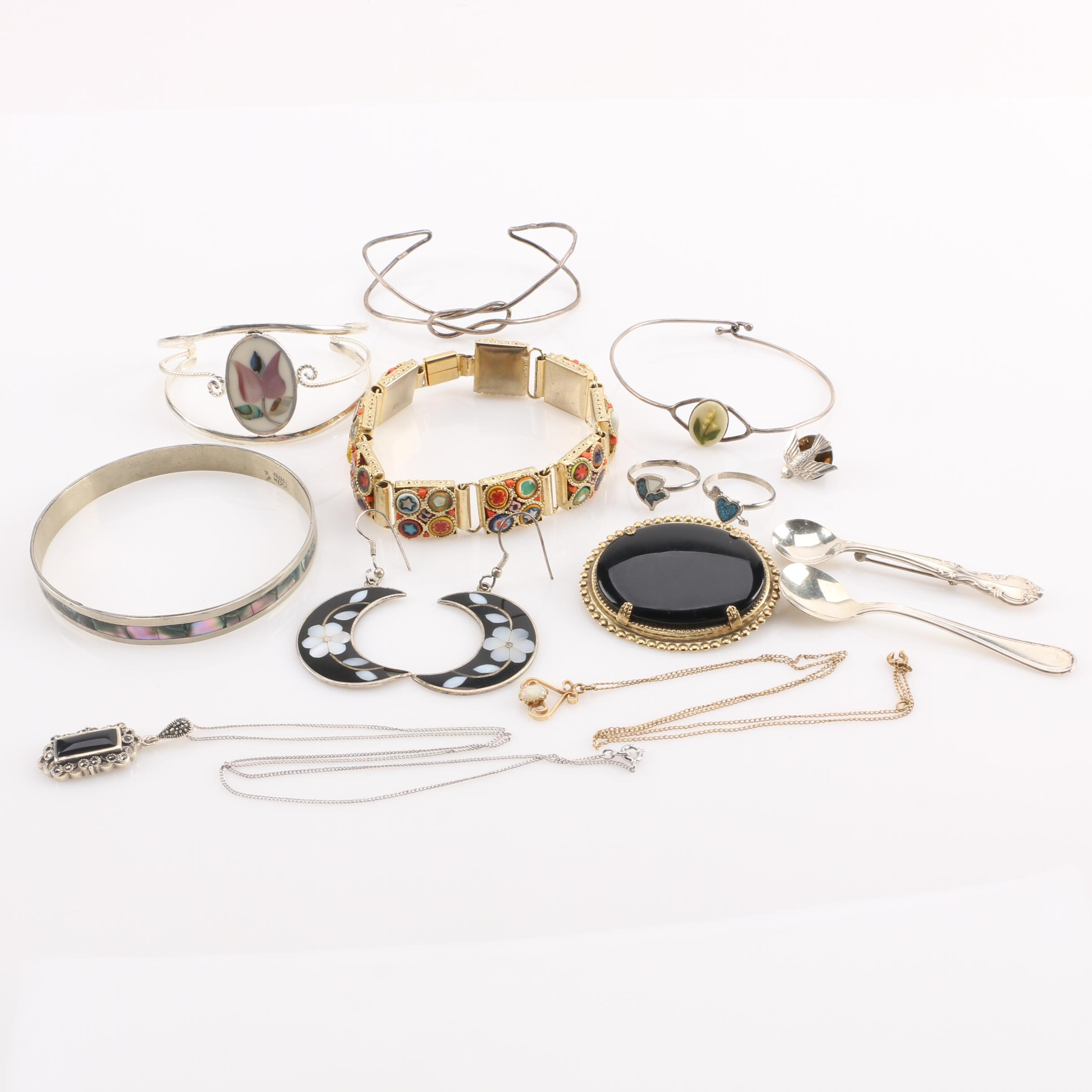 Sterling Silver and Gold-Tone Jewelry Selection Including Abalone and Shell