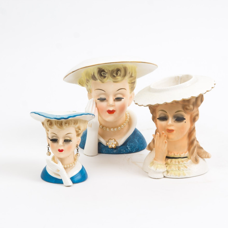 Ladies Head Vases Including Napco Ebth