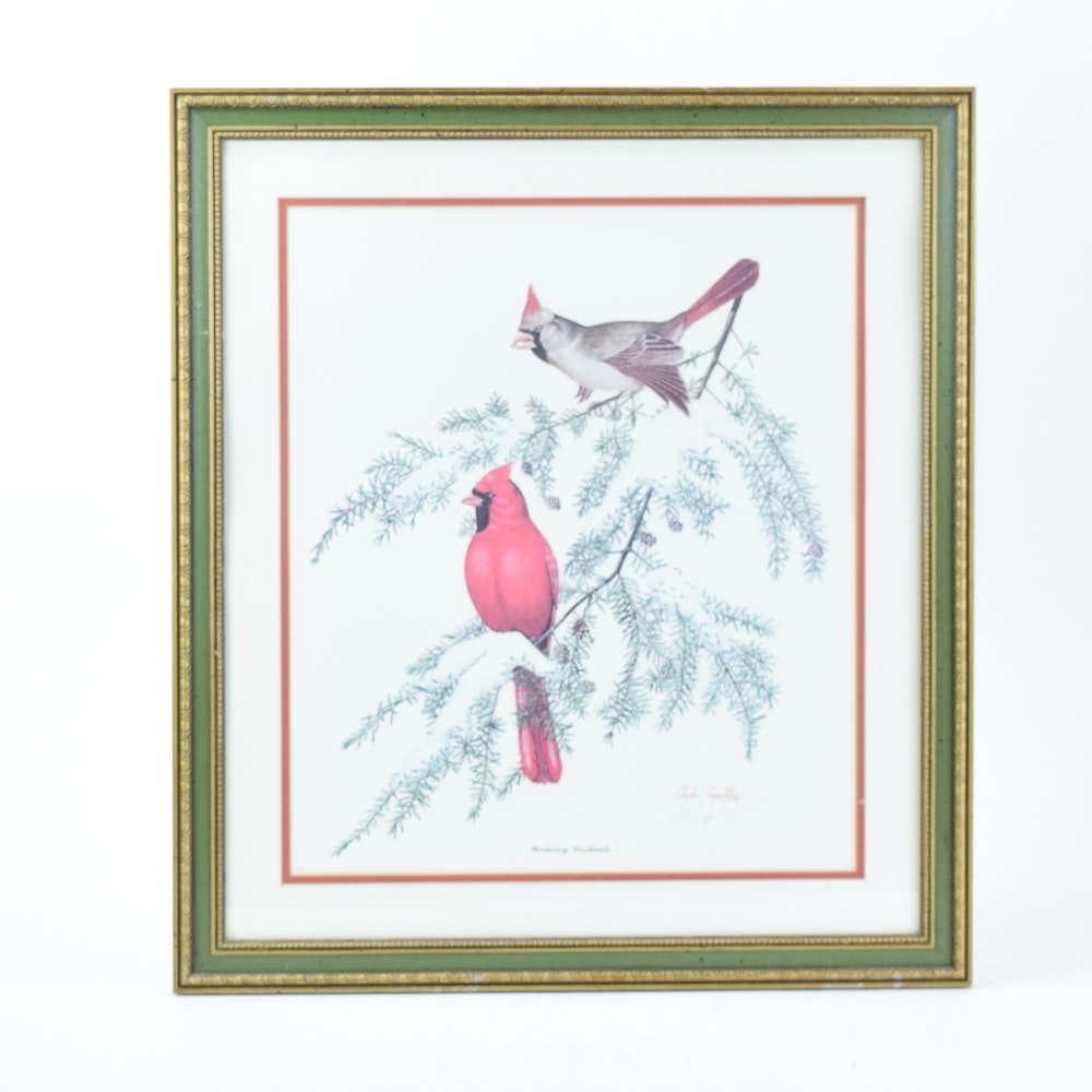 """Charles Spaulding Offset Lithograph """"Wintering Cardinals"""""""