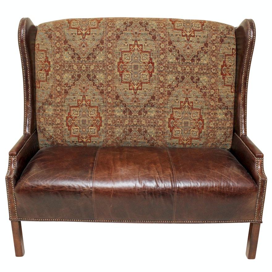 Wingback Loveseat Sofa Wingback Settee With 30 Fabric
