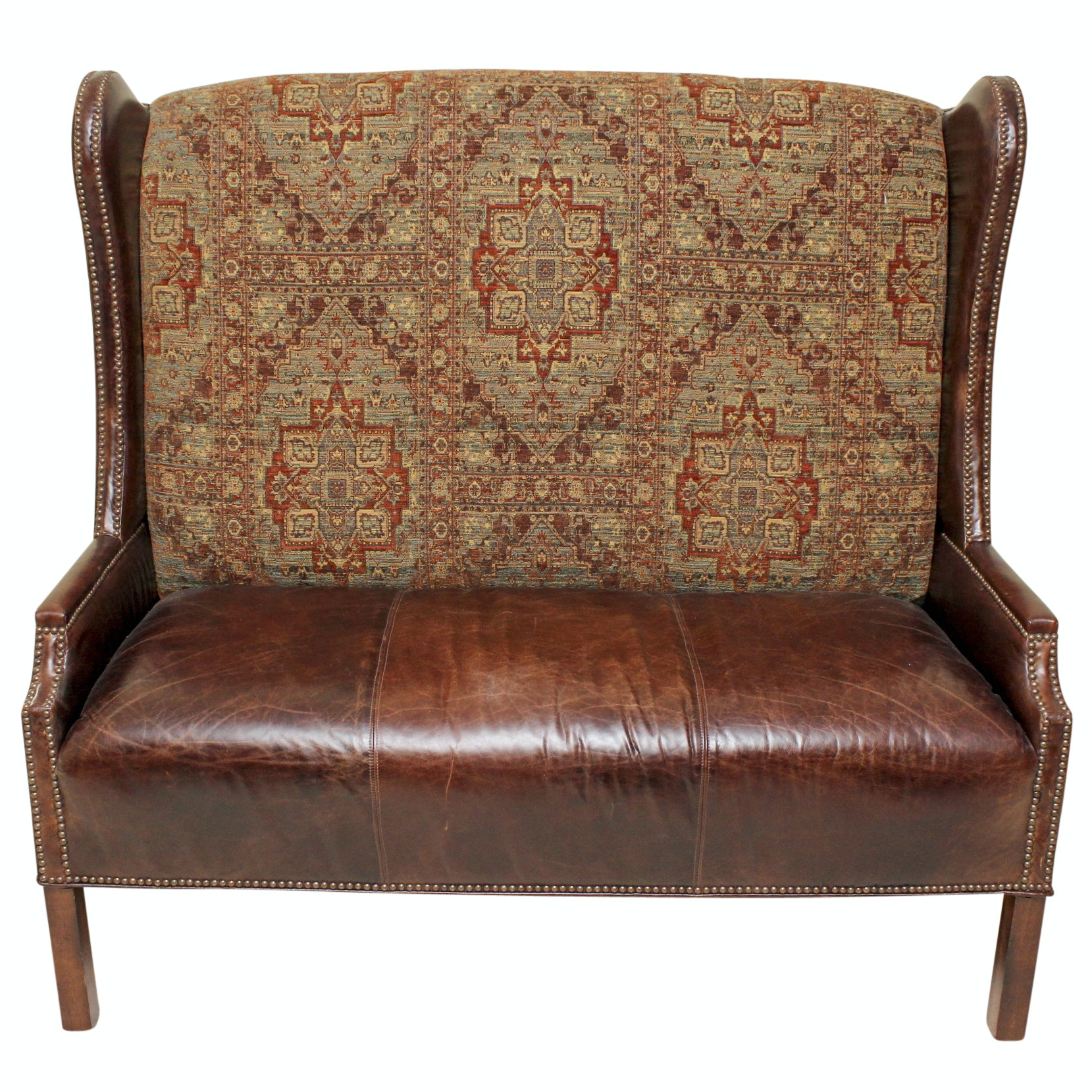 Frontgate Leather And Tapestry Wingback Loveseat ...