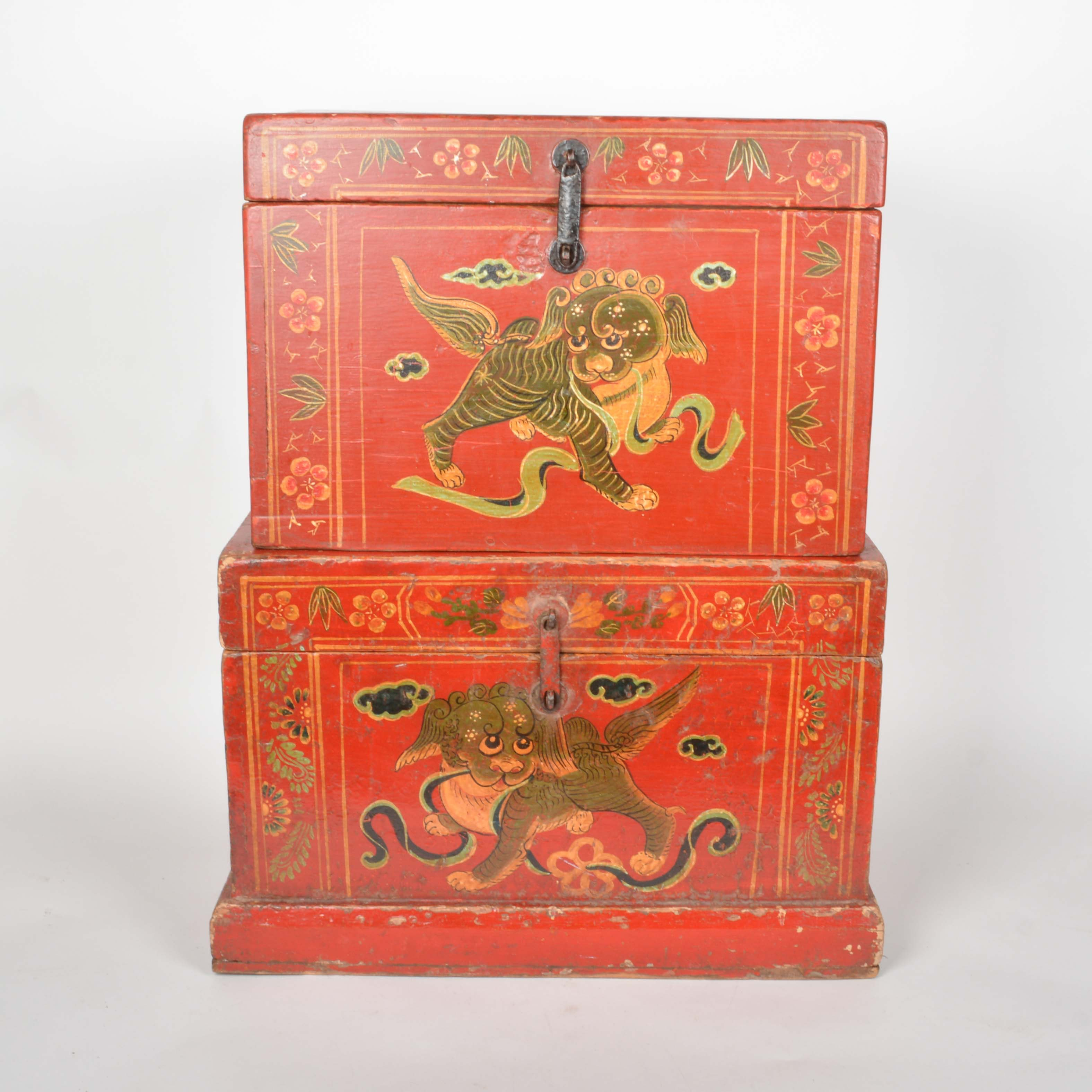 Chinese Red Lacquered Chests with Hand Painted Dragon