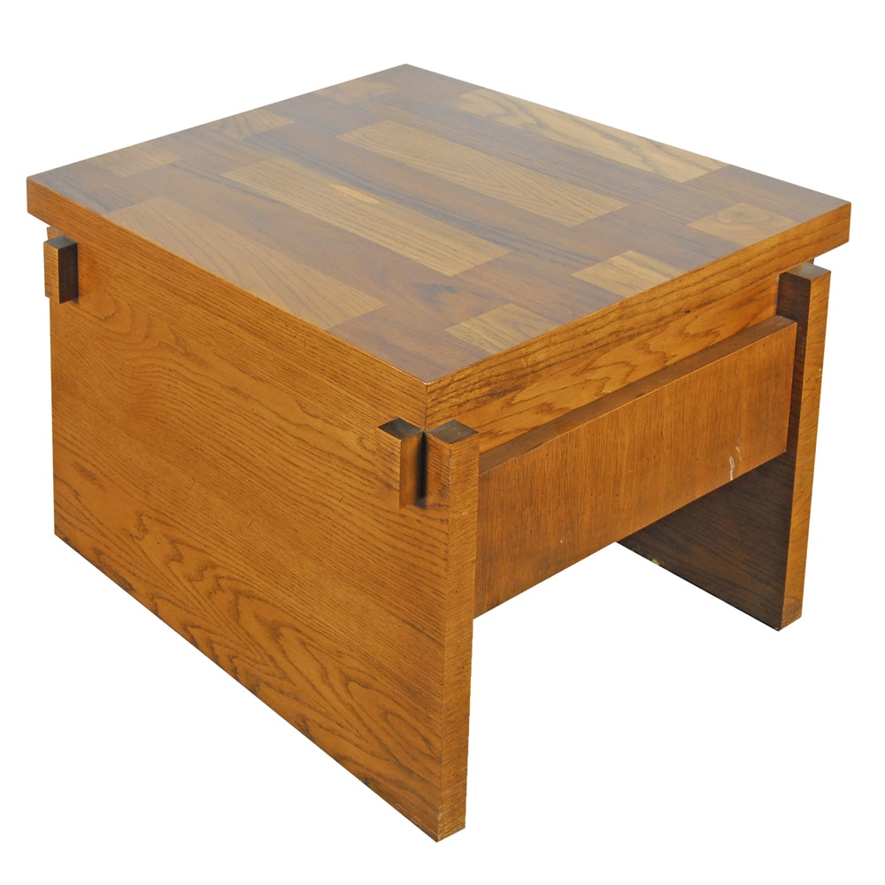 Mid-Century Oak Parquetry End Table by Lane
