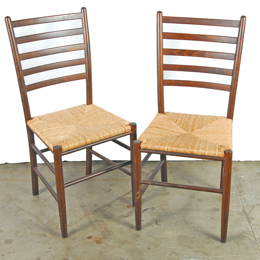 Two Ladderback Chairs with Rush Seats