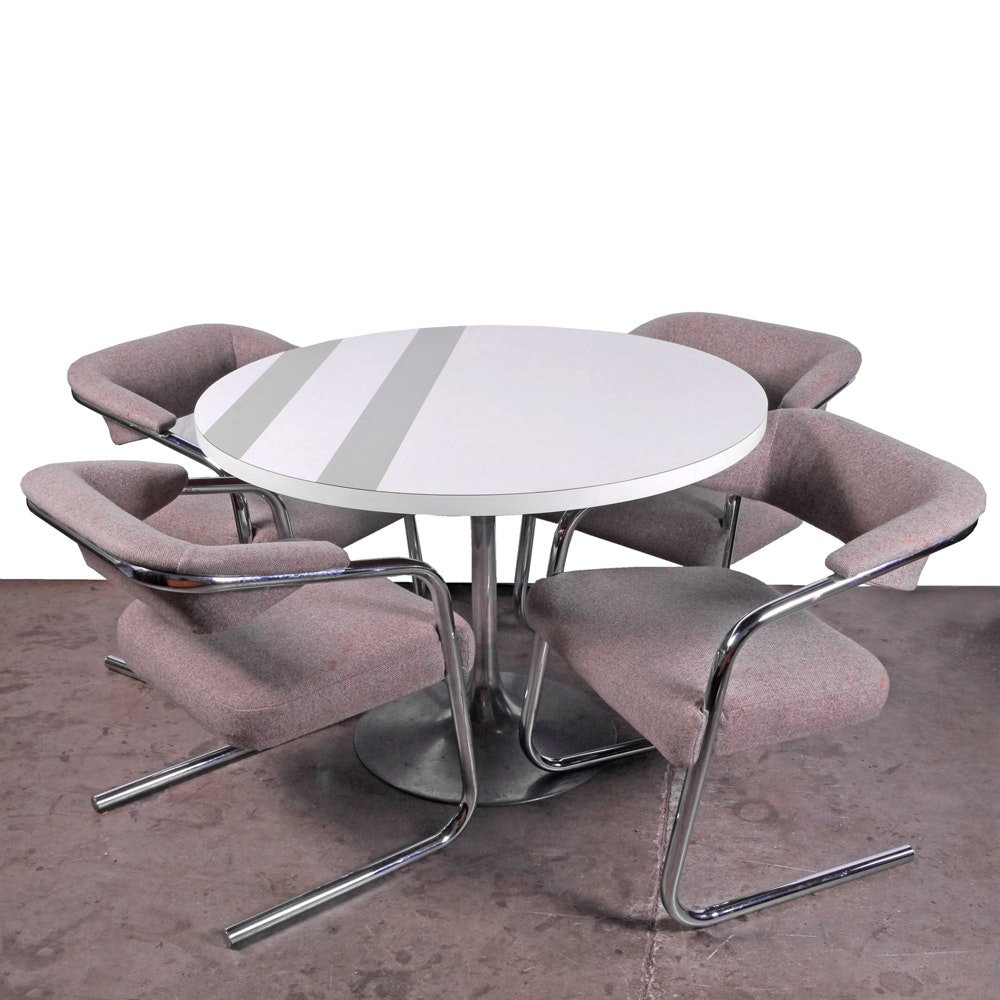Mid Century Modern Tulip Table and Cantilever Chairs by Jansko