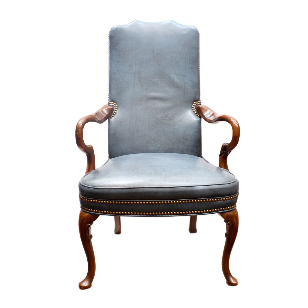 Georgian Style Blue Leather Armchair By Old Hickory Tannery ...