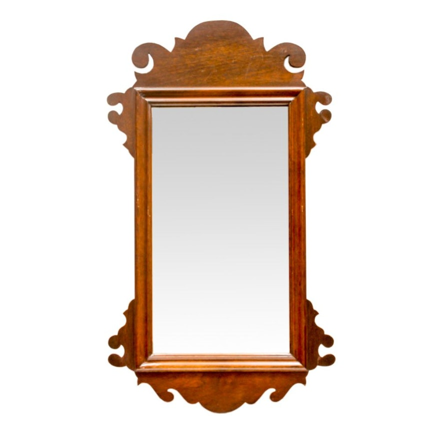 Wall Mirror with a Chippendale Style Mahogany Frame : EBTH