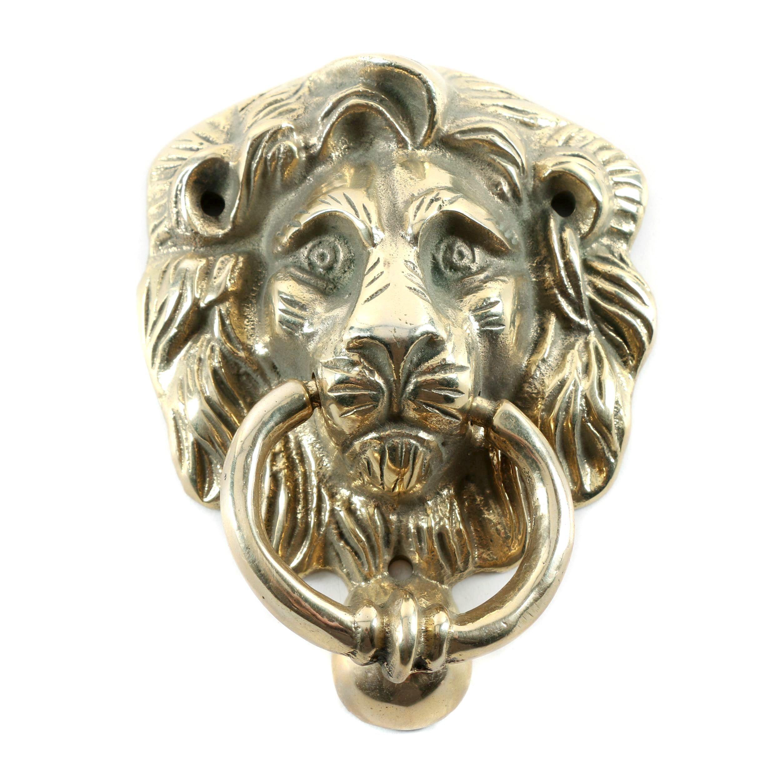 Cast Brass Lion Mask Door Knocker