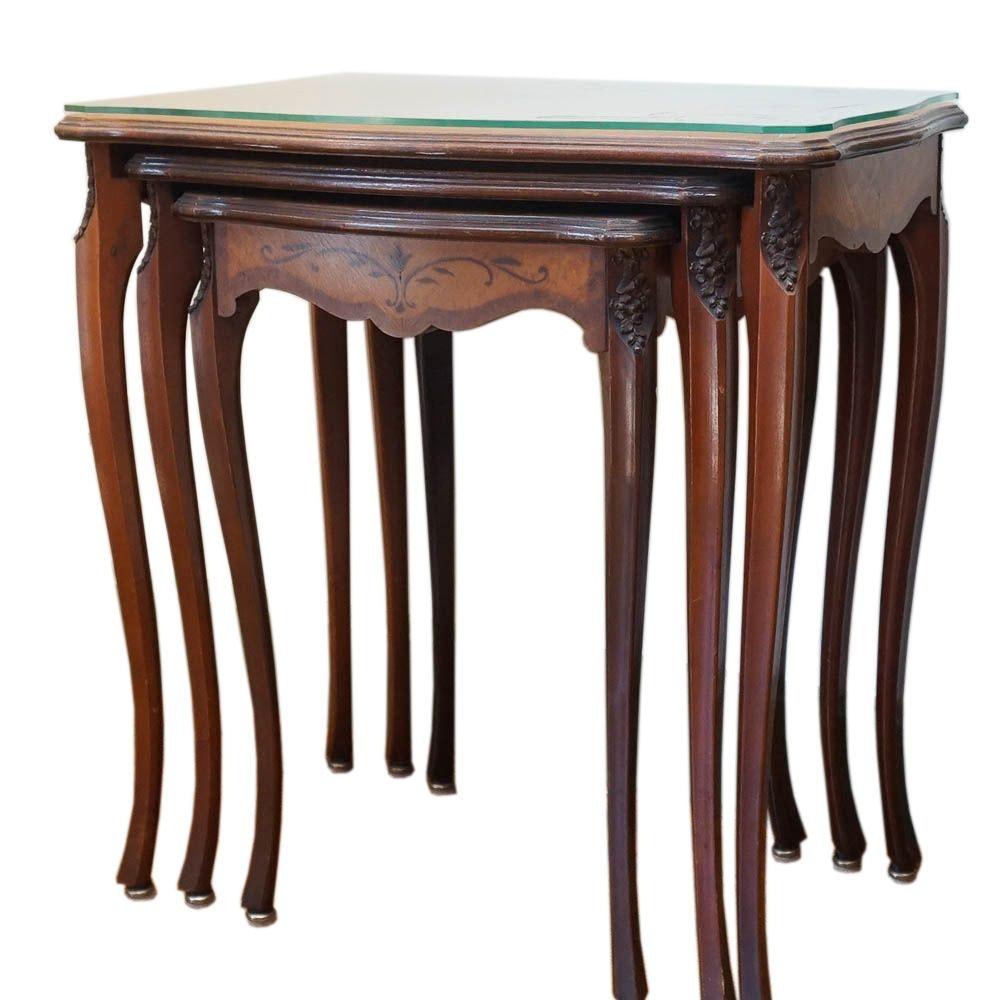 Vintage Carved Wood Nesting Tables