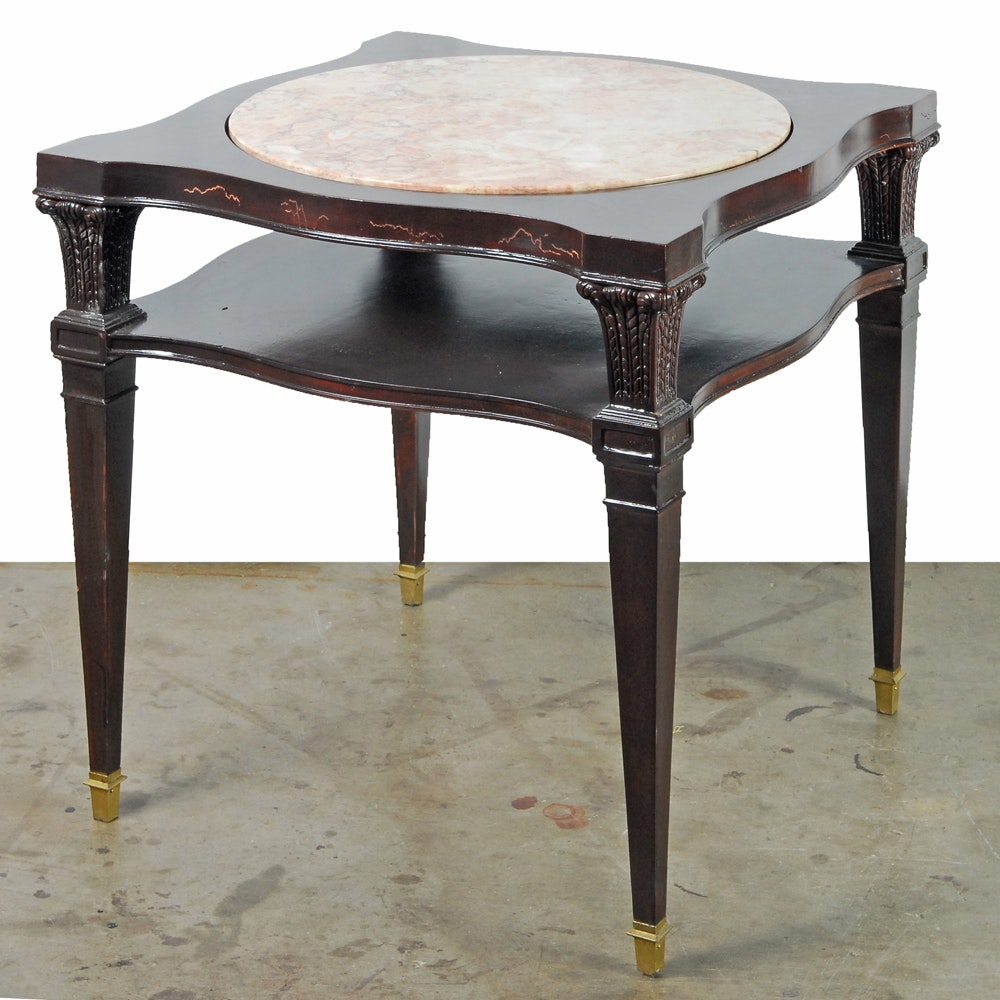 Neoclassical Style Stone Inset Side Table