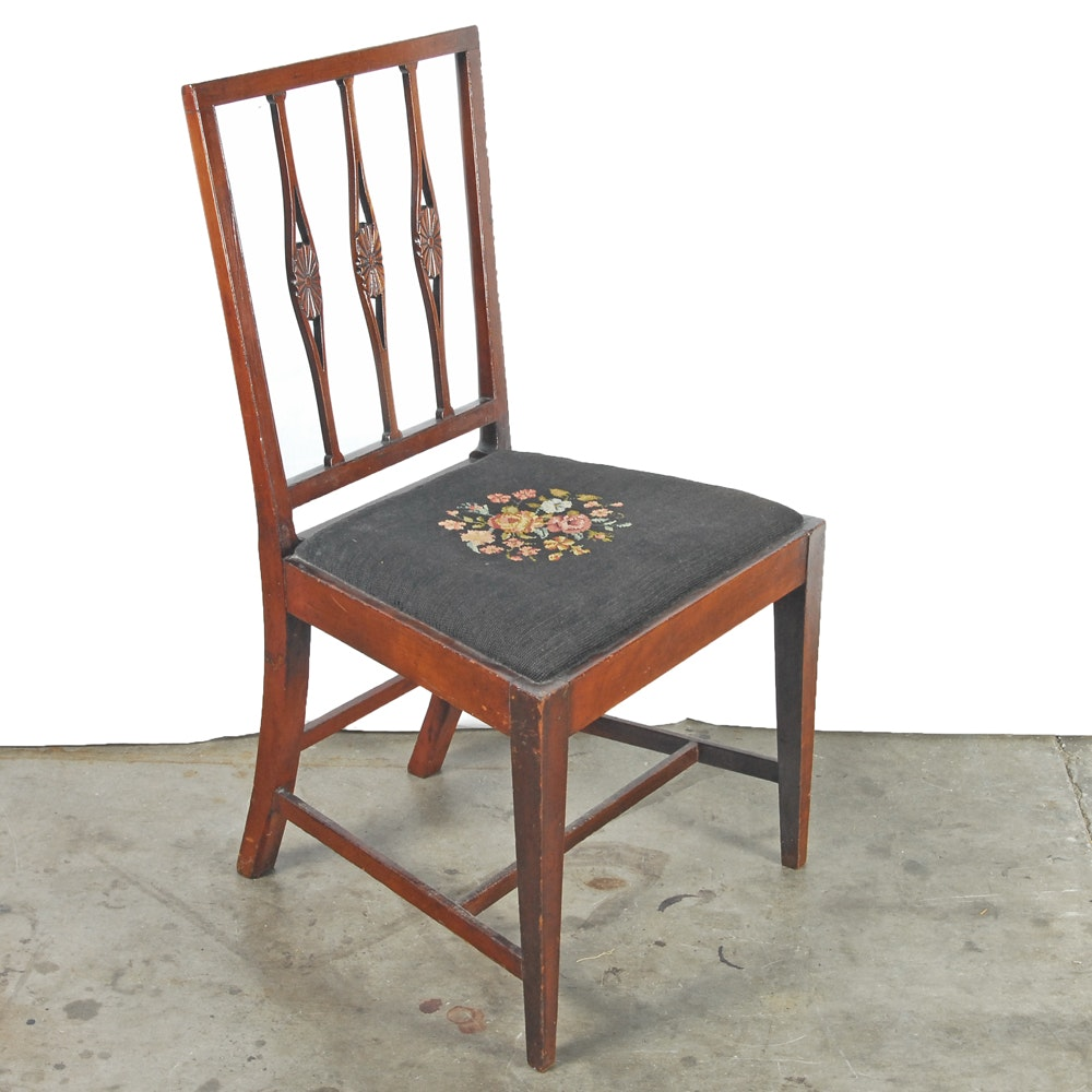 Vintage Mahogany Side Chair with Needlepoint Seat