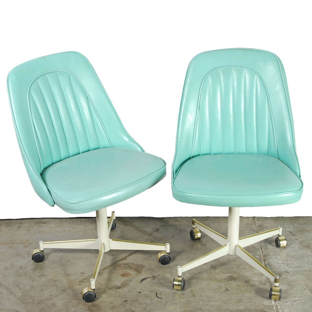 Mid Century Modern Blue Vinyl Rolling Chairs by Stoneville Furniture
