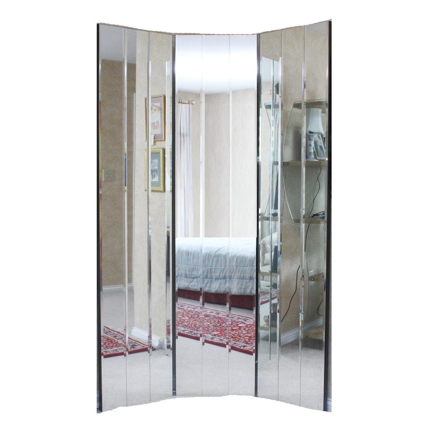 Substantial Hollywood Regency Style Tri Fold Floor Mirror