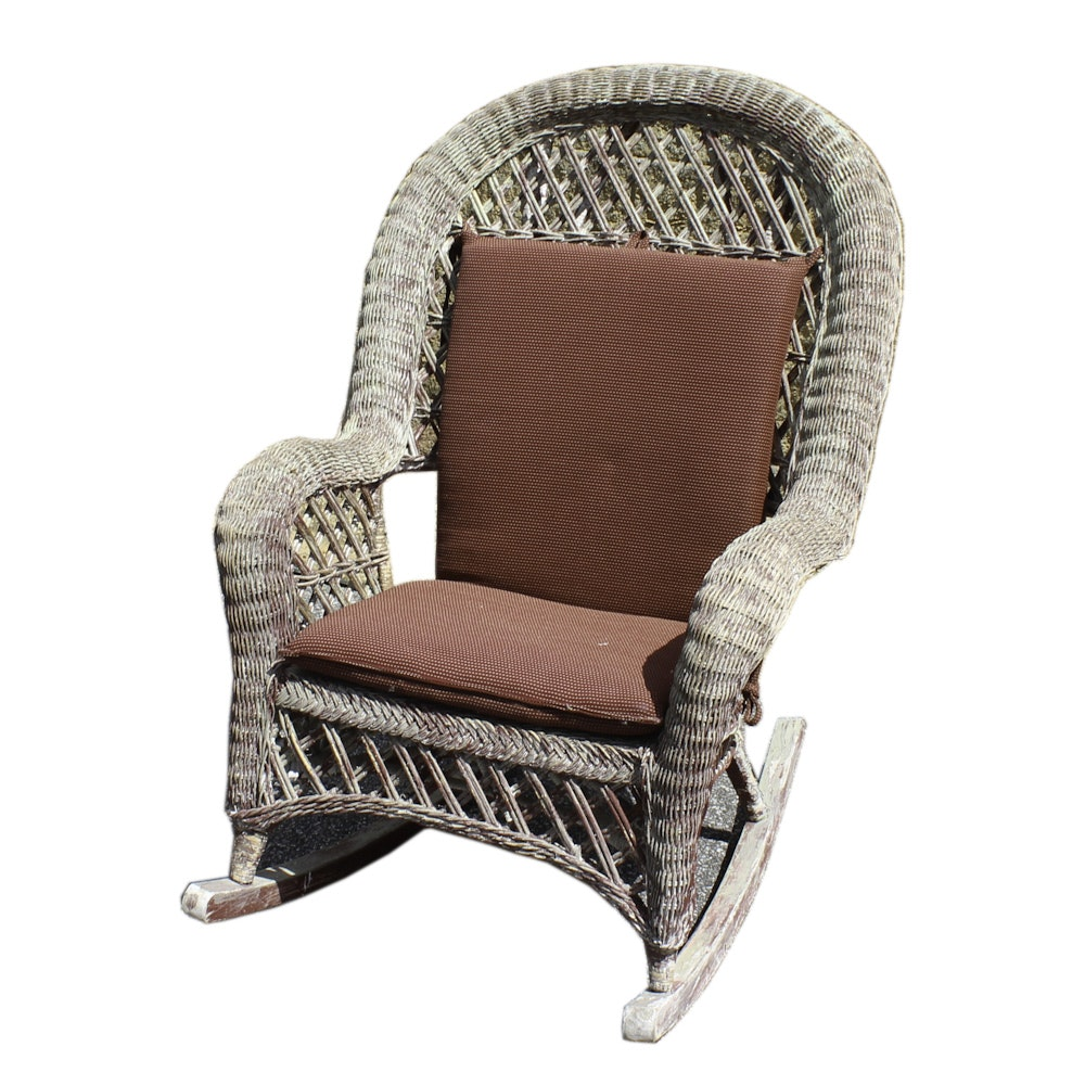 Vintage Wicker Rocking Chair With Cushions ...
