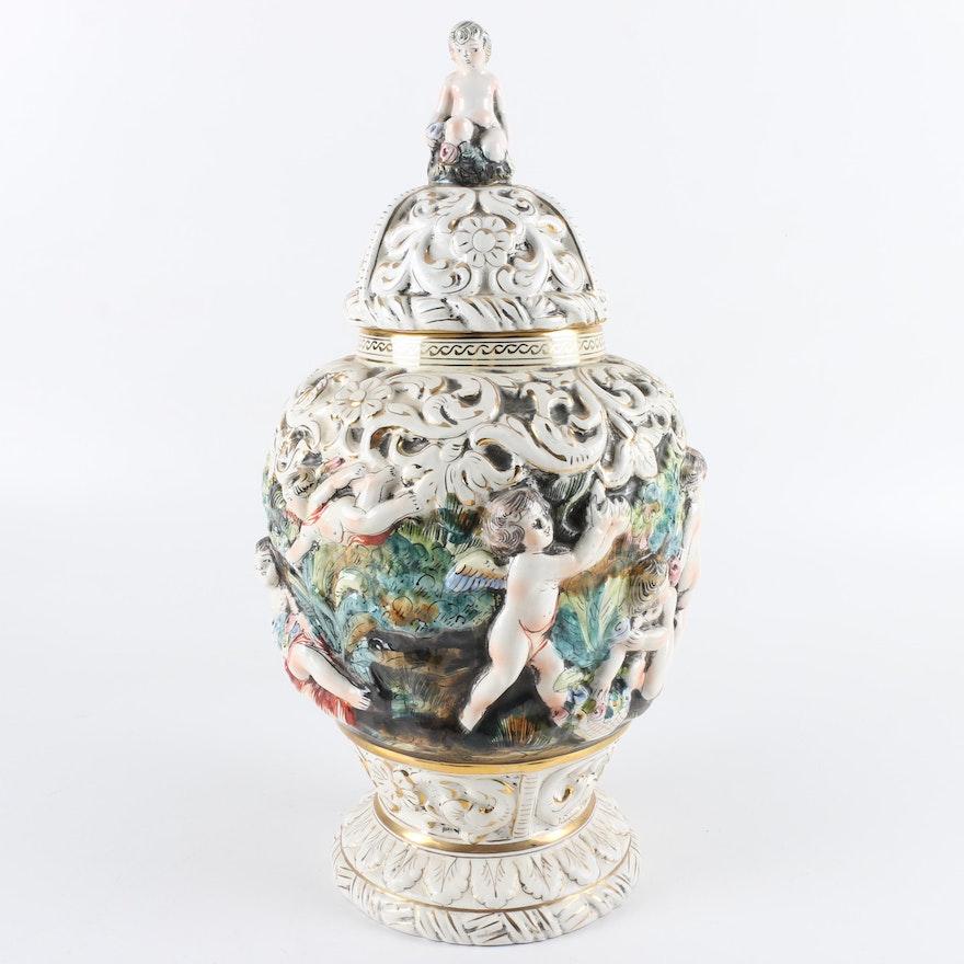 Mid Century Capodimonte Bernini Urn Vase Ebth