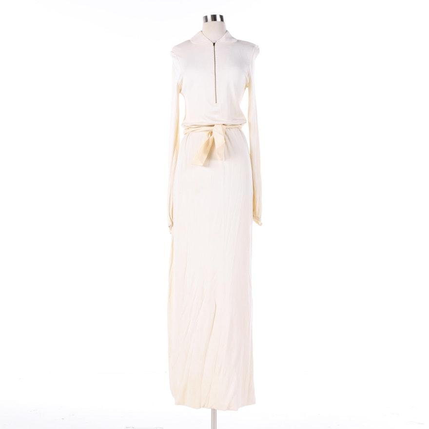 Vintage Halston Off-White Maxi Dress : EBTH