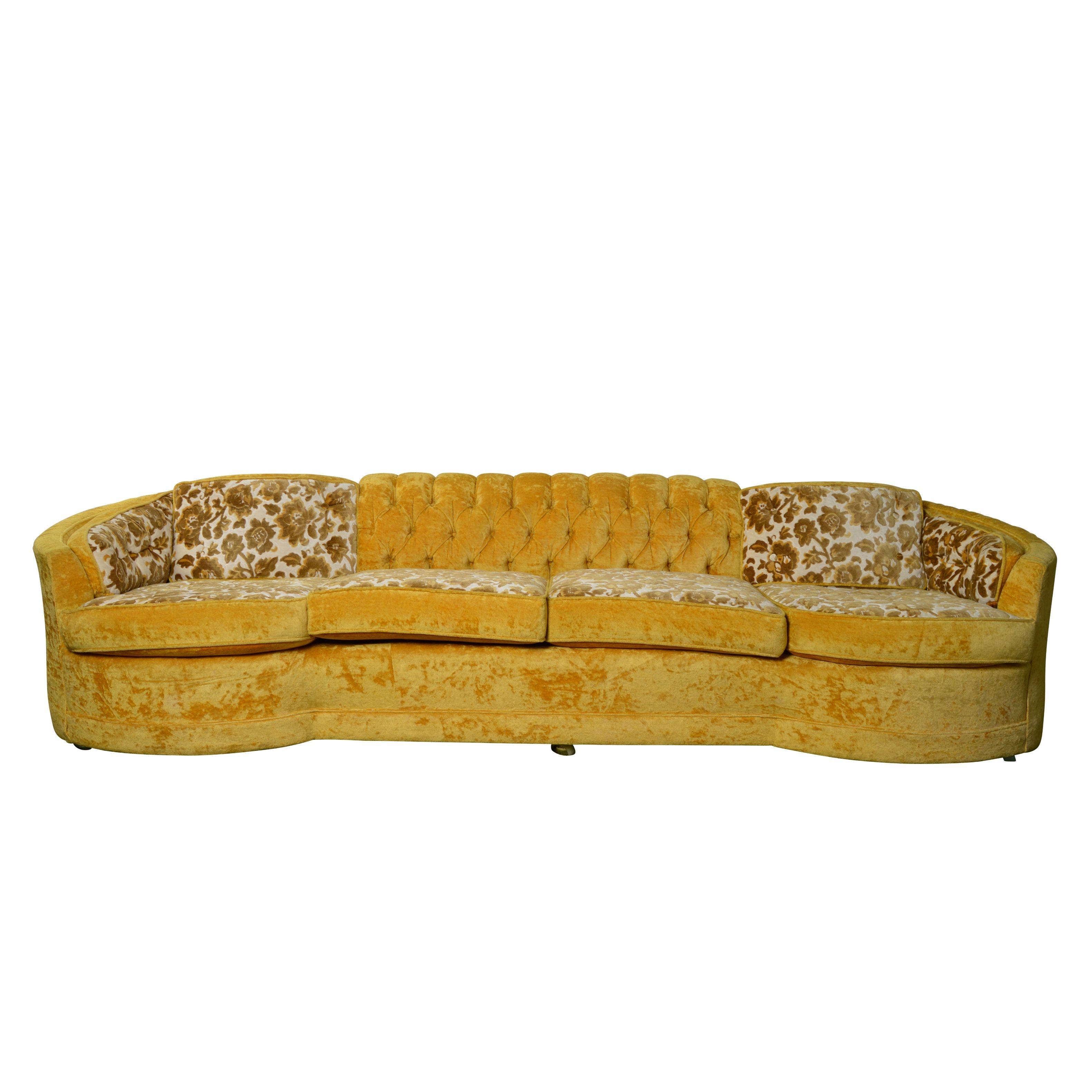 Vintage Mid 20th-Century Crushed Velvet Upholstered Sofa