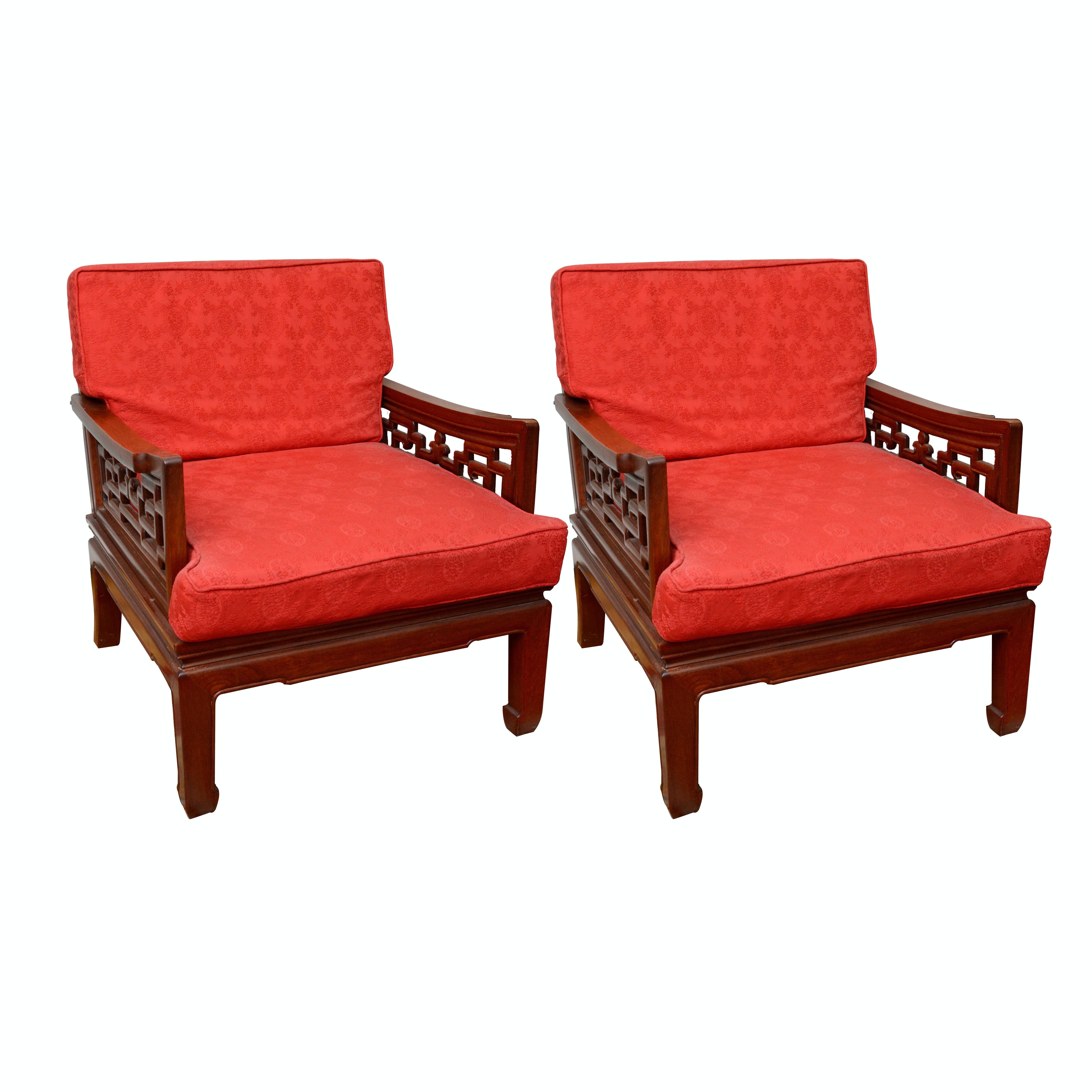 Vintage Chinese Inspired Rosewood Armchairs