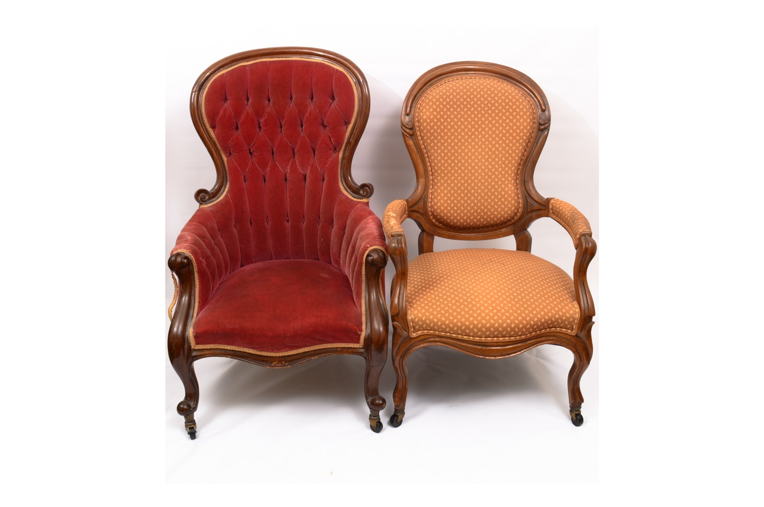 Vintage Victorian Style Upholstered Armchairs