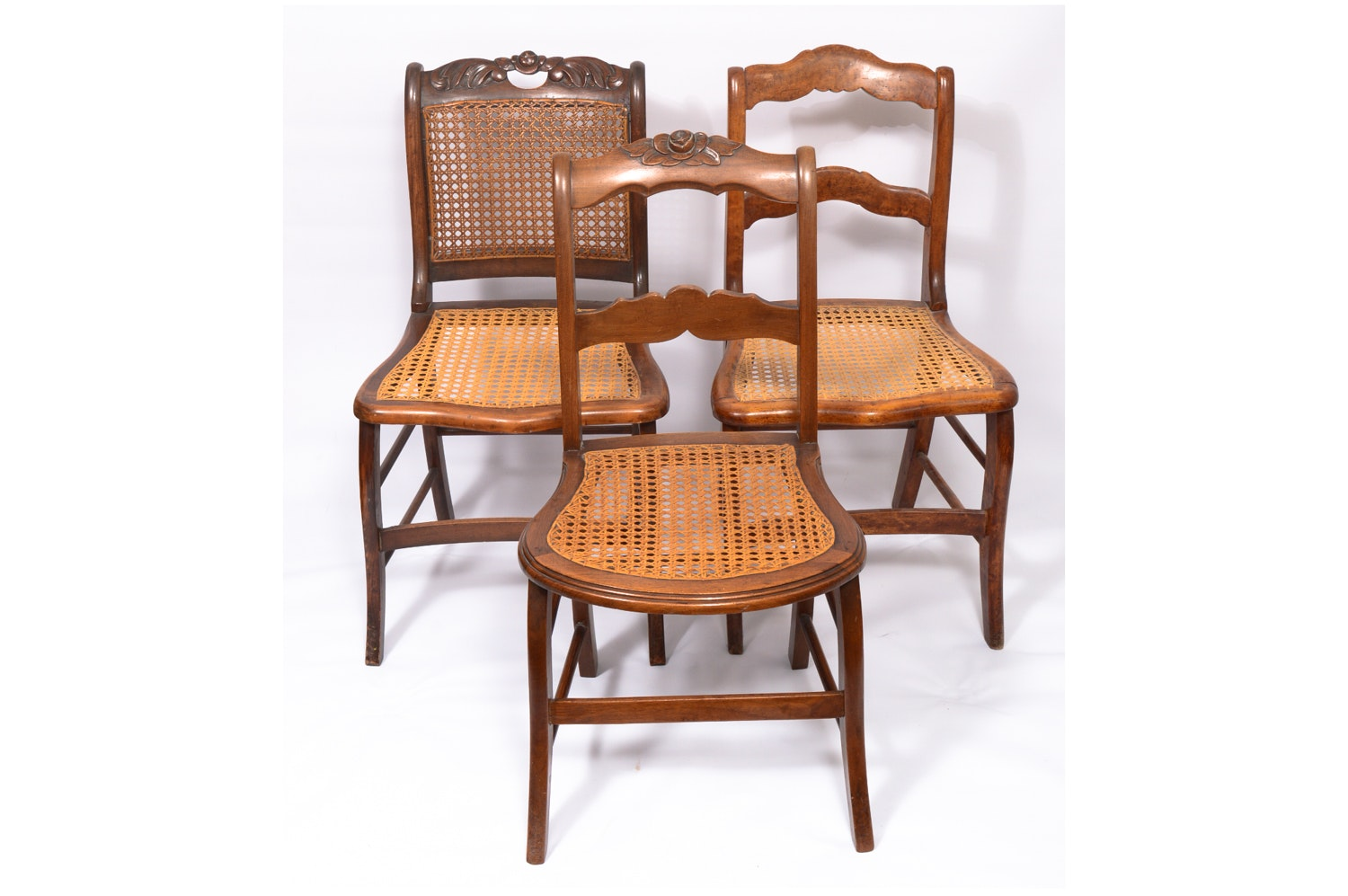 Vintage Victorian Style Cane Seat Side Chairs