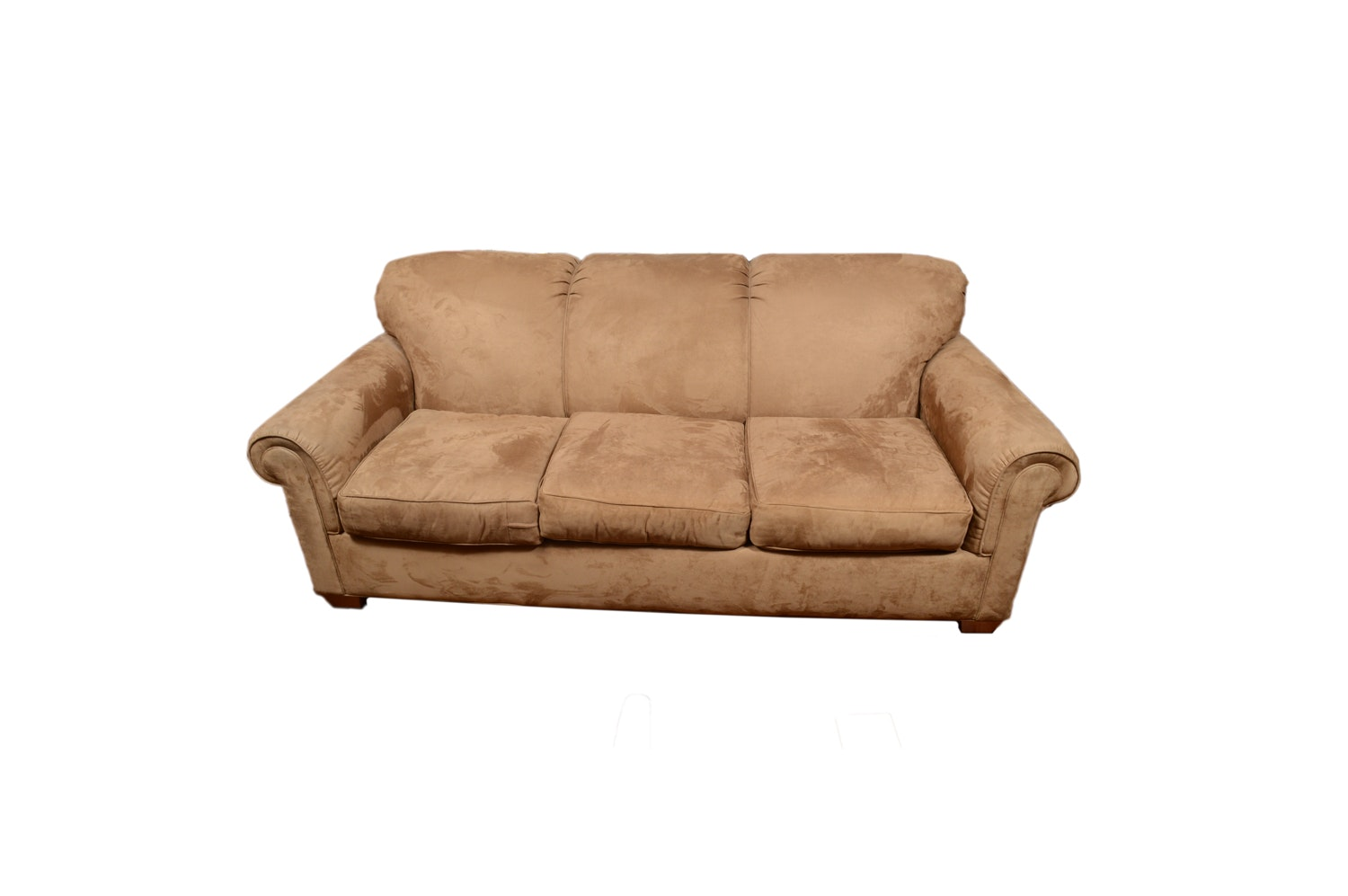 Tan Faux Suede Sofa by Rowe Furniture