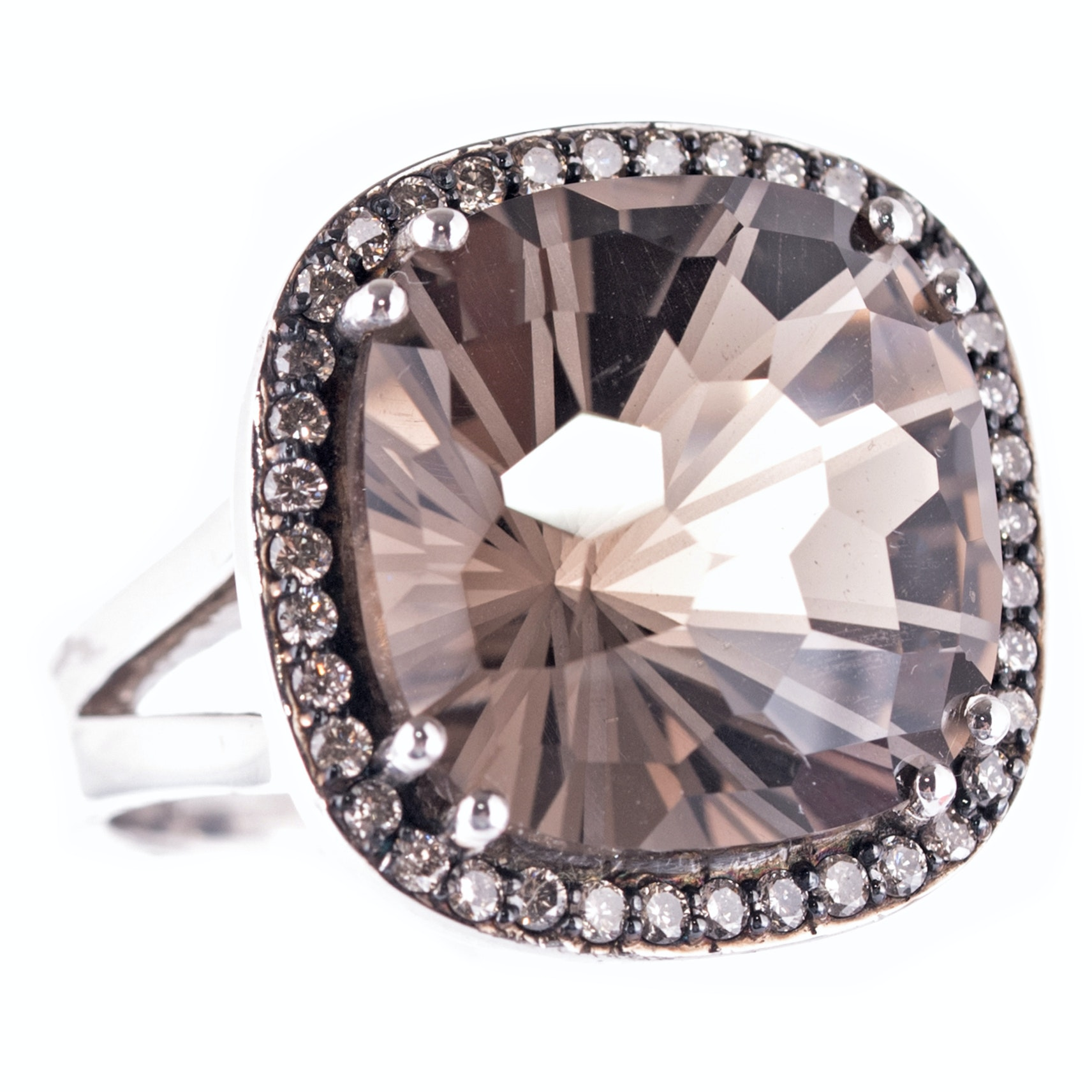 Sterling Silver 18.00 CT Smoky Quartz and Diamond Ring
